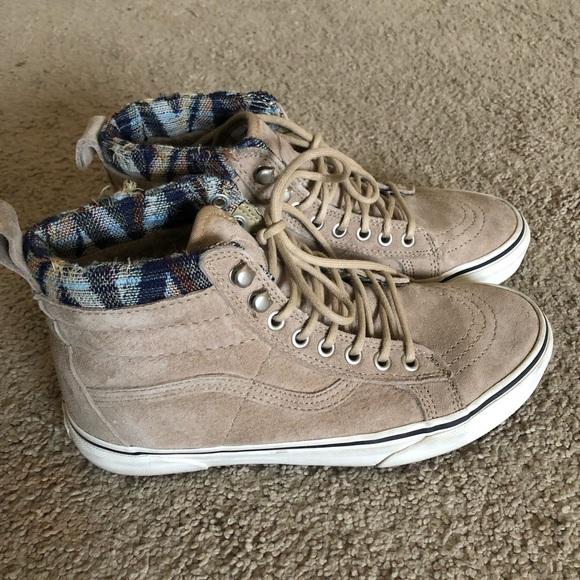 vans sk8 hi mte khaki woven chevron temperament shoes